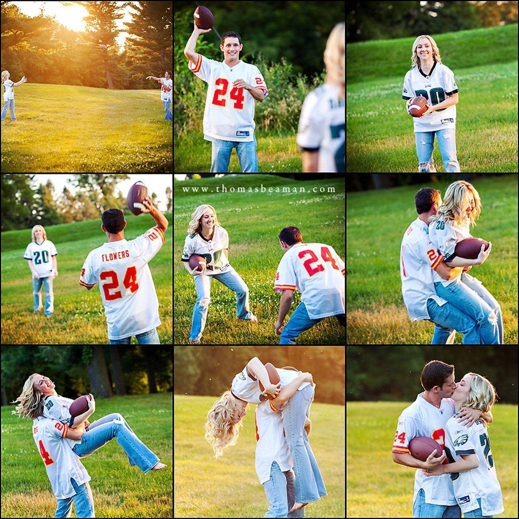 A couple playing football together during their engagement session