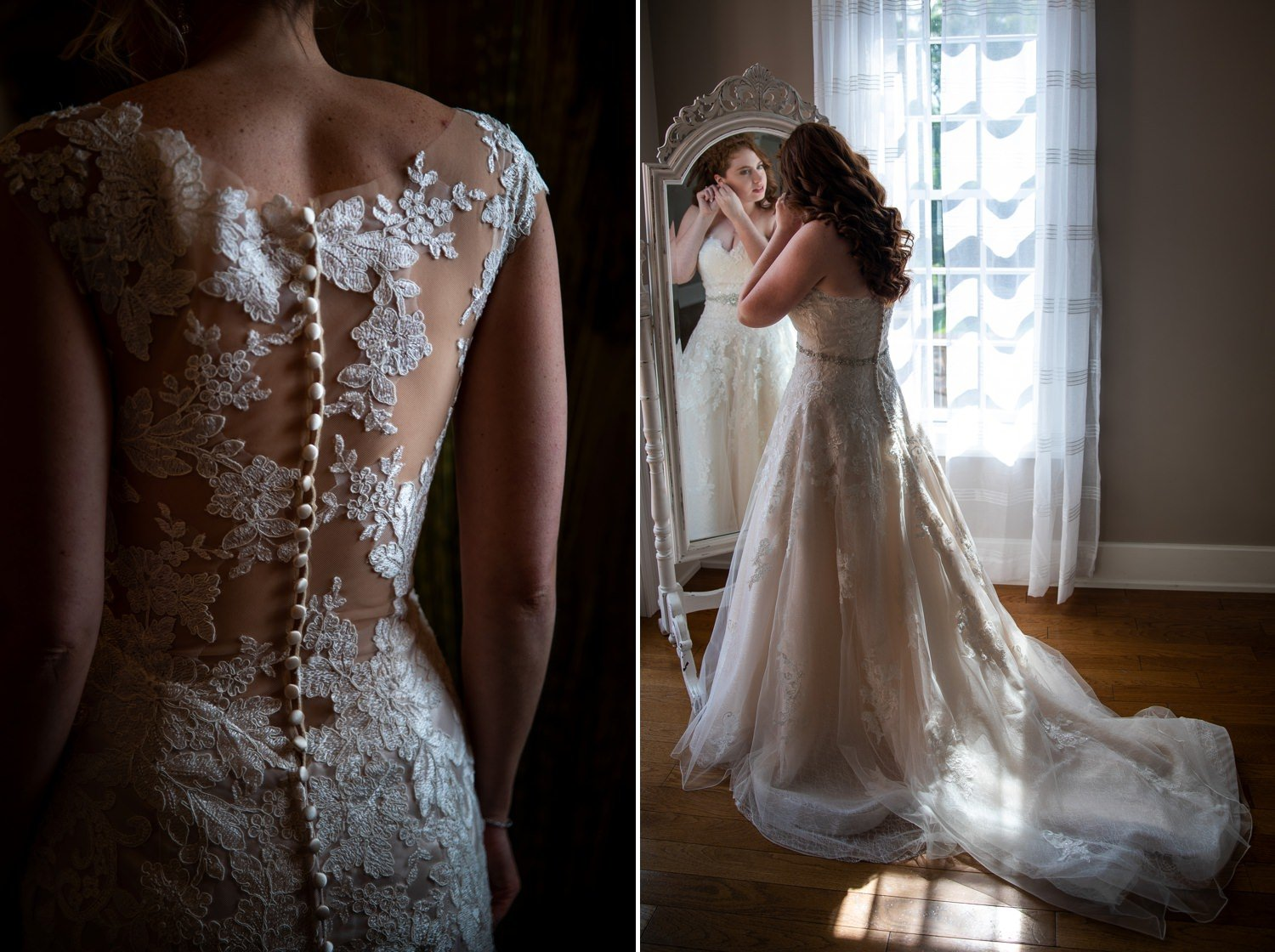 A bride looking in the mirror as she puts her wedding dress on.