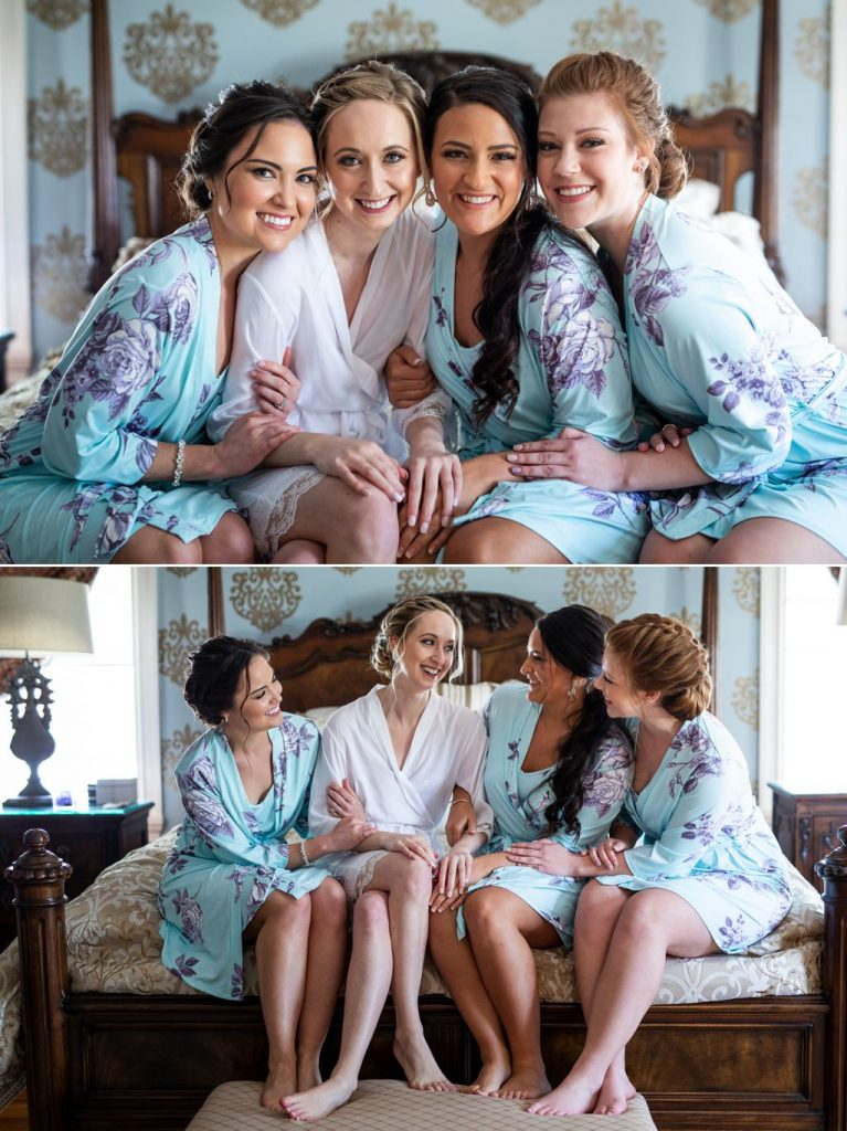 bride and bridesmaids in robes at linwood estate
