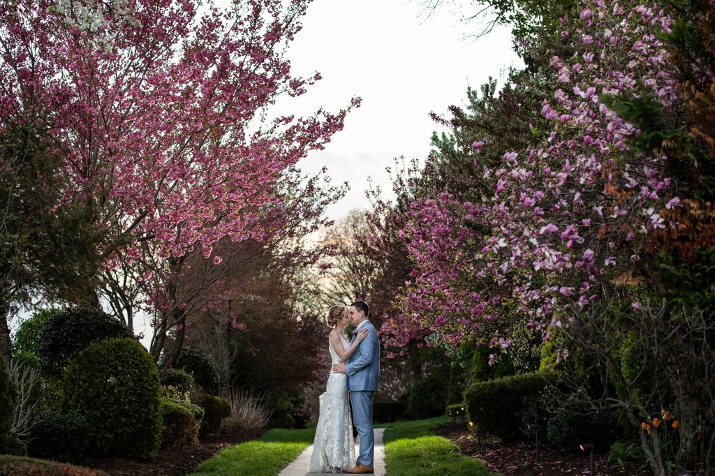 a bride and groom posing at linwood estate