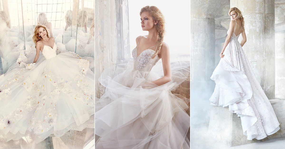models showing off their wedding dresses