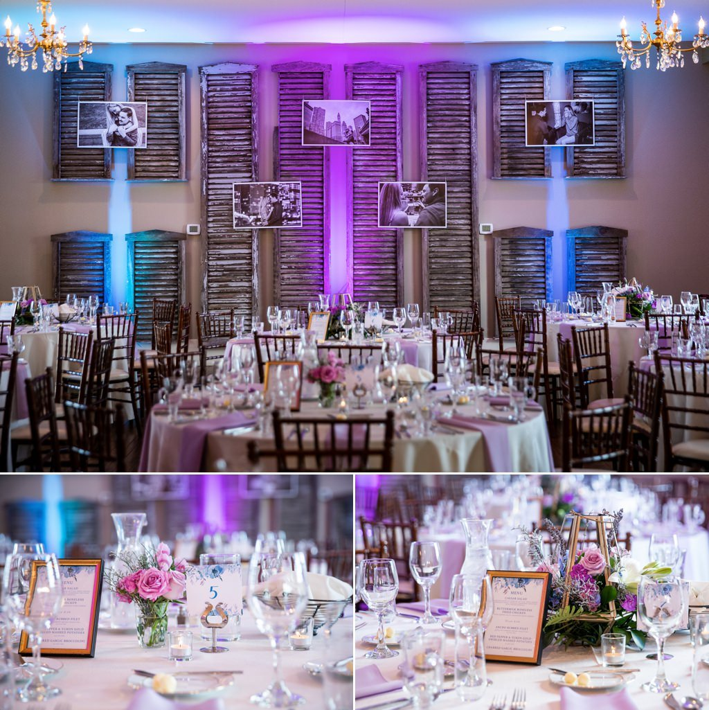 uplighting in a wedding reception room at linwood estate