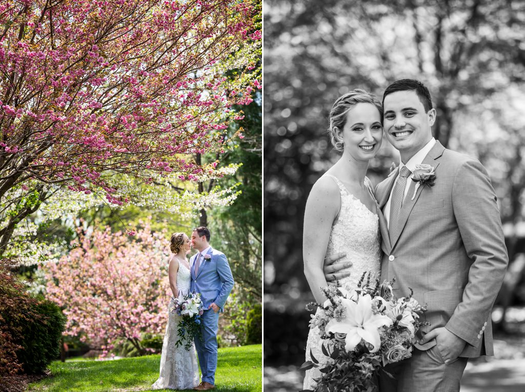 bride and groom at wedding at linwood estate