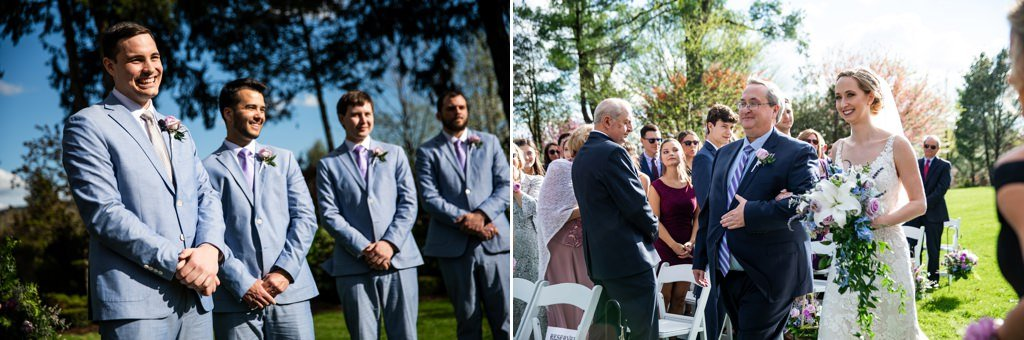 the groom watching the bride walk down the aisle