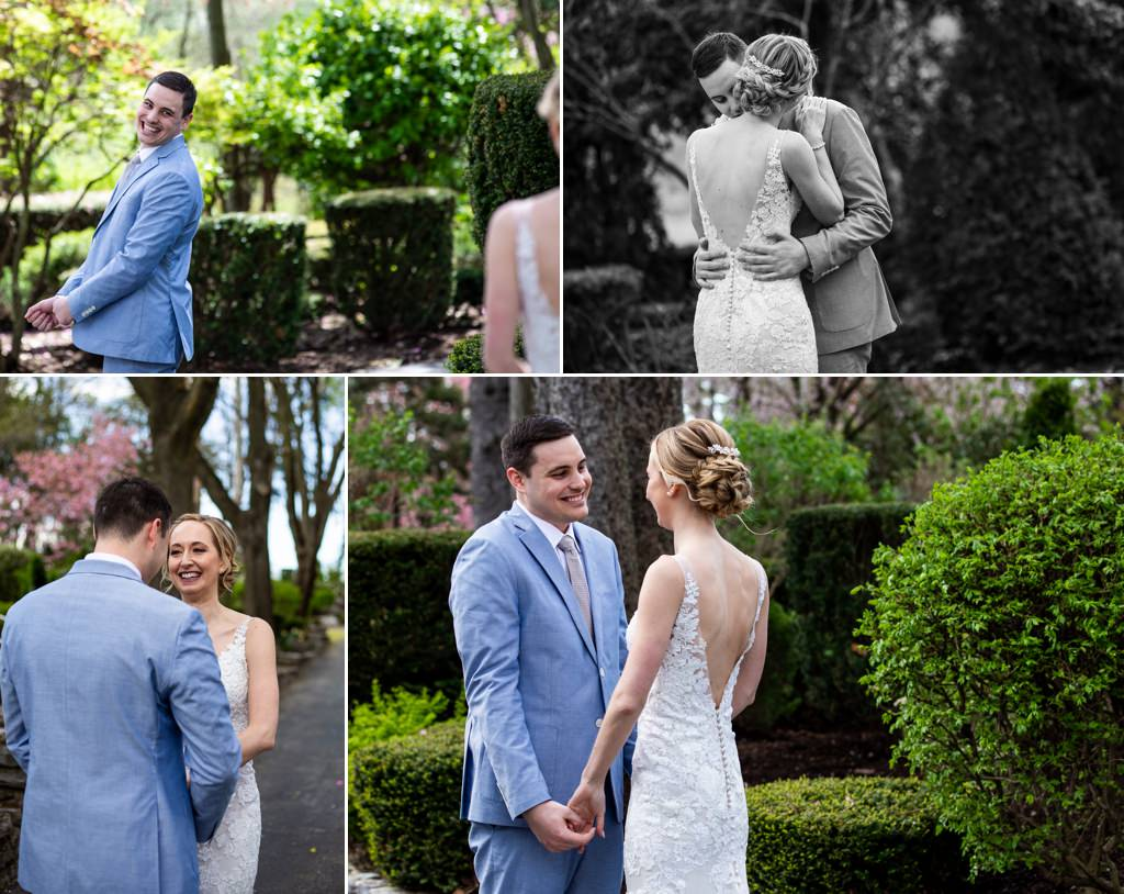 bride and groom doing a first look at linwood estate wedding