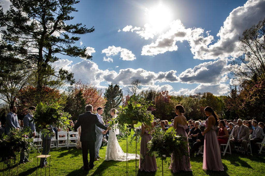 a wedding ceremony at linwood estate