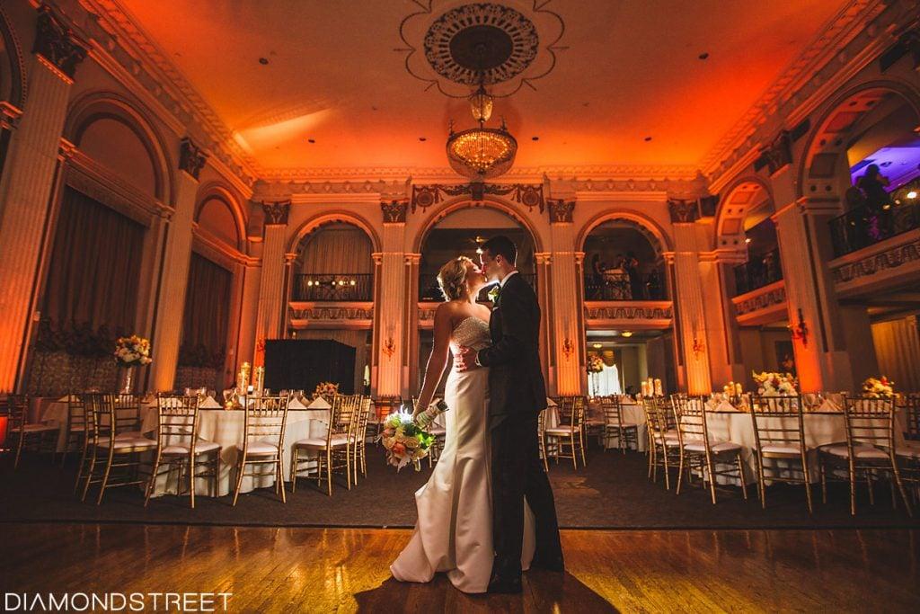 bride and groom enjoying their wedding first dance
