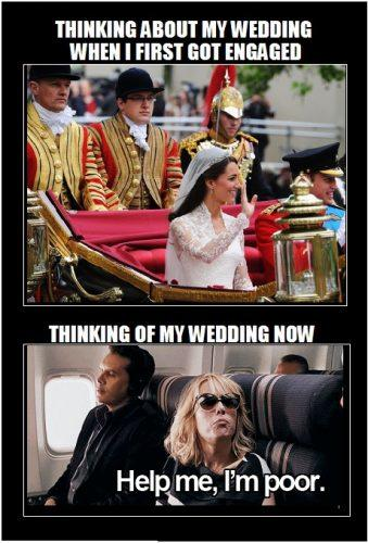funny meme about not having any money for wedding planning