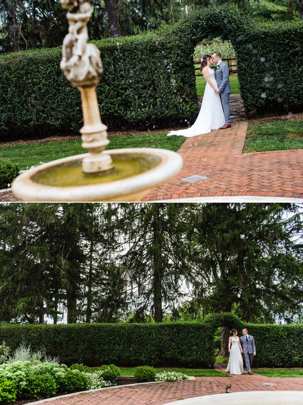 A bride and groom walking down the brick path at White Chimneys wedding venue