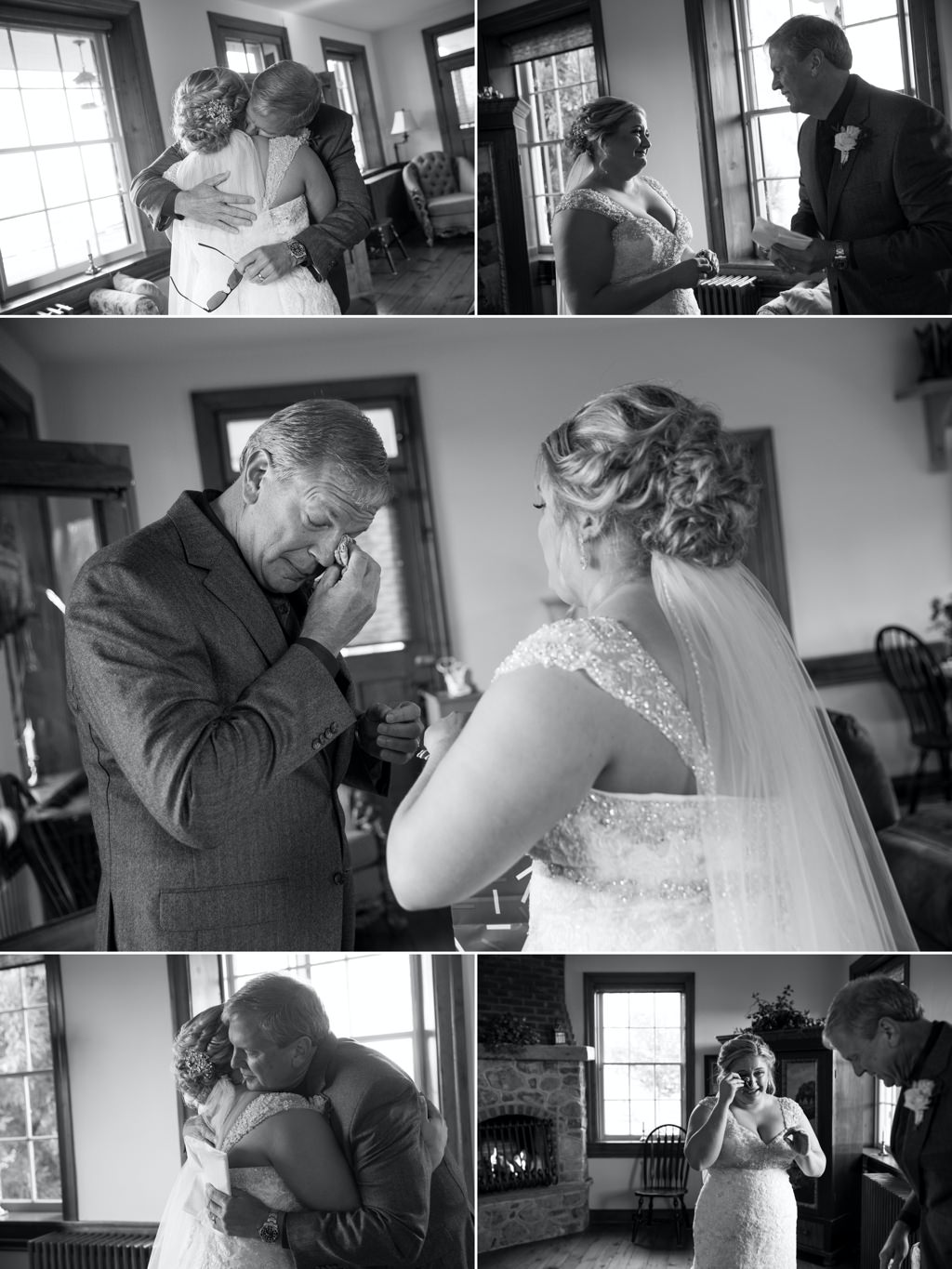 a dad and bride crying after seeing each other for the first time on the wedding day.