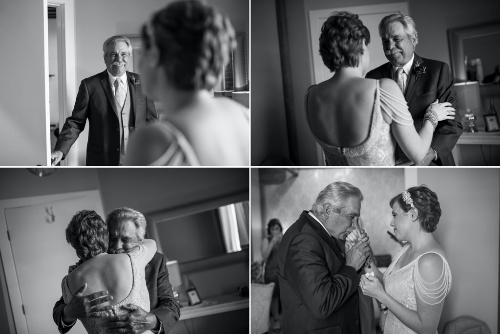 A dad kissing his daughters hand on her wedding day.
