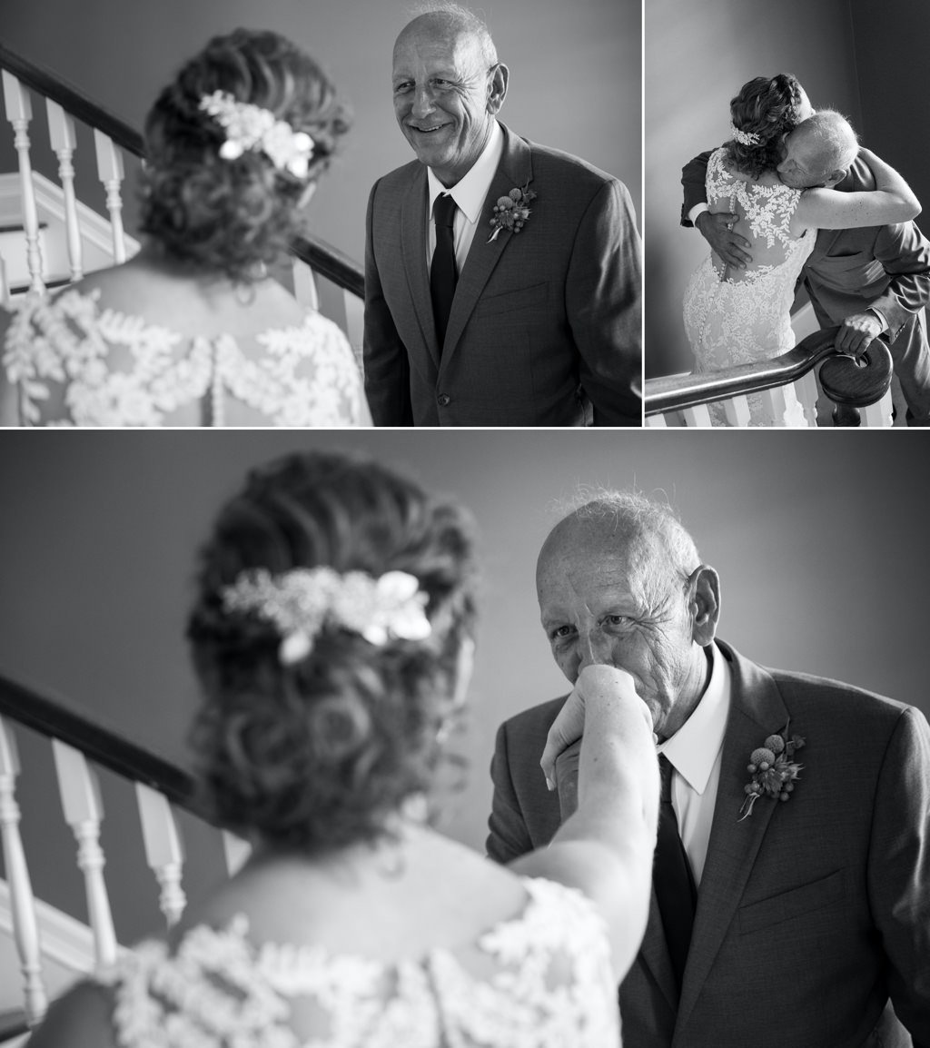 A father of the bride seeing his daughter for the first time on the wedding day.