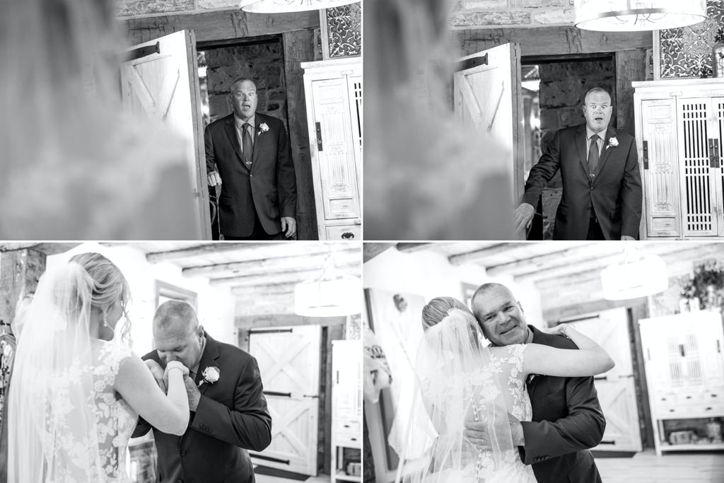Father daughter first look wedding photos. A father's priceless reaction to seeing his daughter for the first time in her wedding dress.