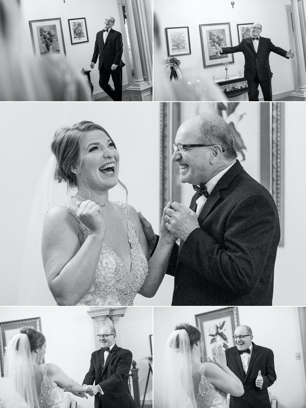 A bride and her dad showing their excitement after seeing each other for the first time on the wedding day.