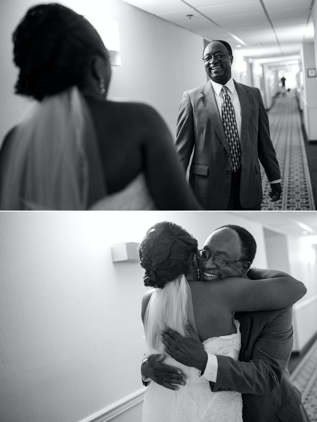 A happy dad seeing his daughter for the first time on her wedding day.