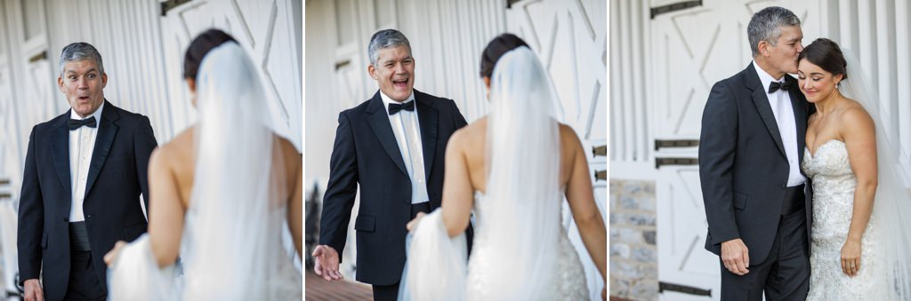 A photo series of a father seeing his daughter during their first look on the wedding day.