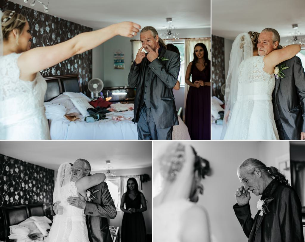 a tearful father daughter first look wedding photo