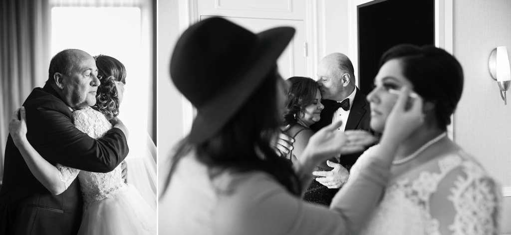 A father hugging his daughter on the wedding day after their first look.