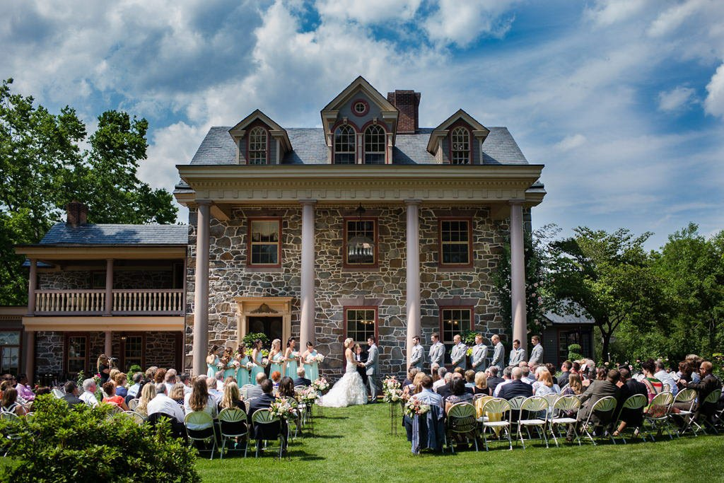 A wedding ceremony taking place at Moonstone Manor, a wedding venue in Elizabethtown, PA