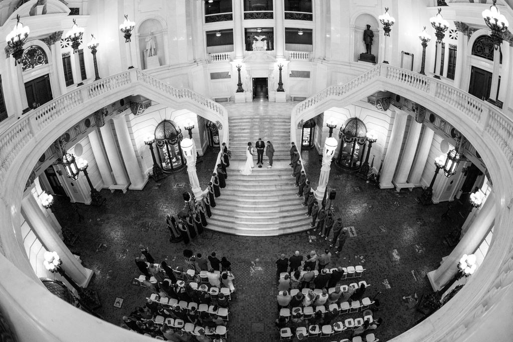 A wedding ceremony at the Pennsylvania capitol building