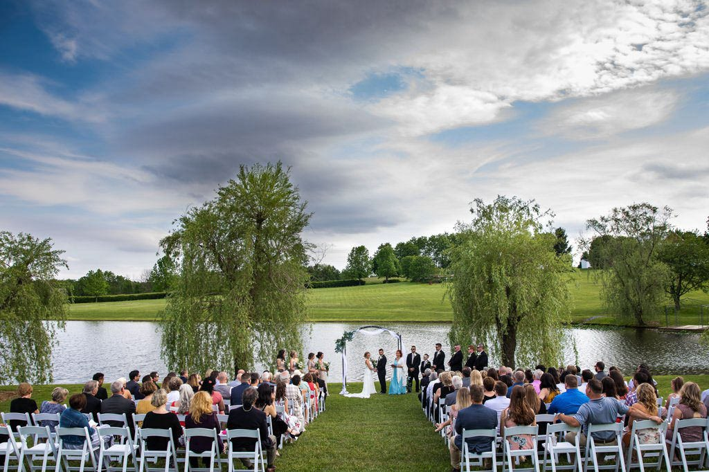 A wedding ceremony at Wind in the Willows, a gorgeous wedding venue in Harrisburg, PA