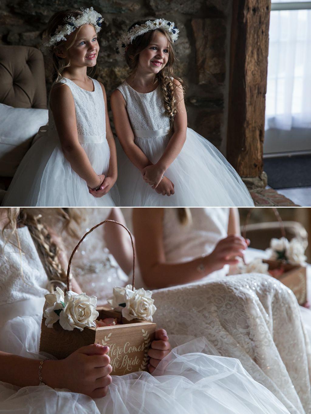 Flower girls posing in the bridal suite of Wyndridge Farm