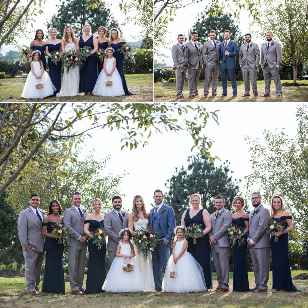 A wedding party posing at a Wyndridge Farm wedding
