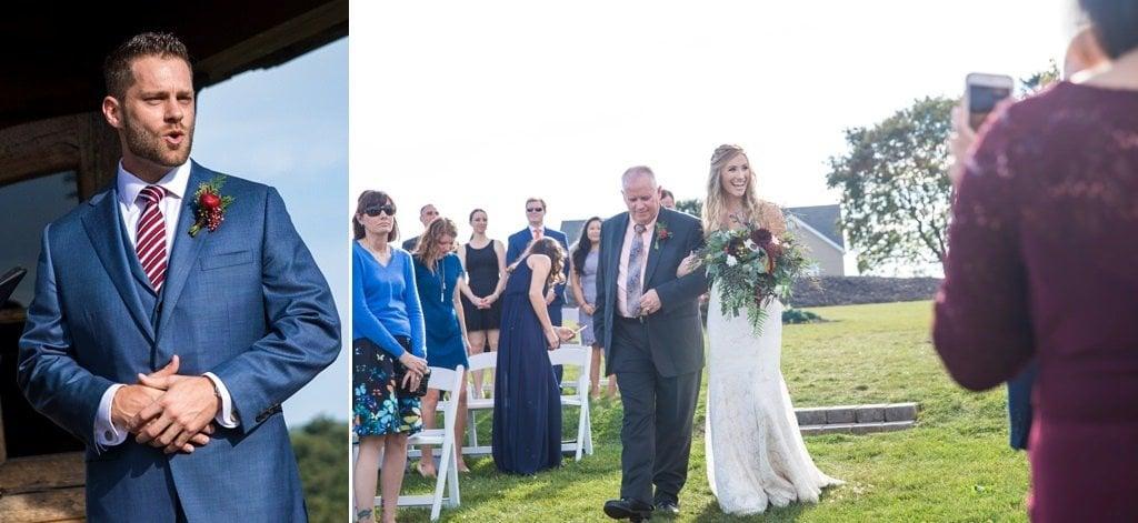 A bride walking down the aisle at her wedding ceremony at Wyndridge Farm
