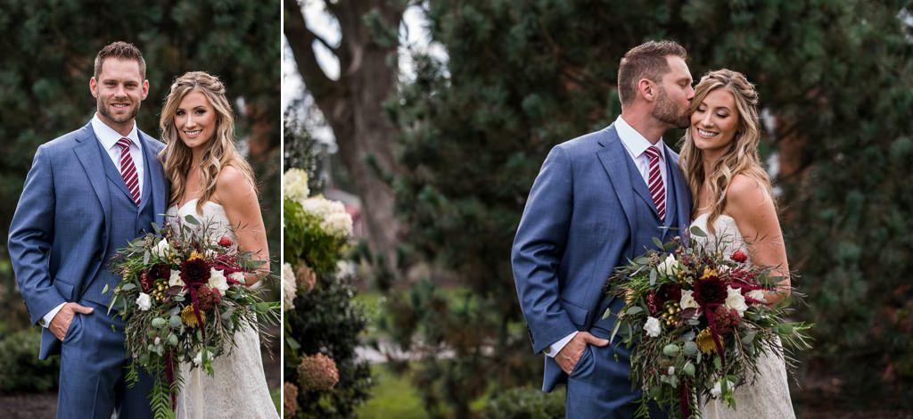 A bride and groom posing at their Wyndridge Farm wedding