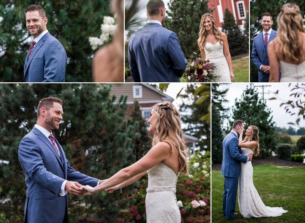 A bride and groom doing a first look at their Wyndridge Farm wedding