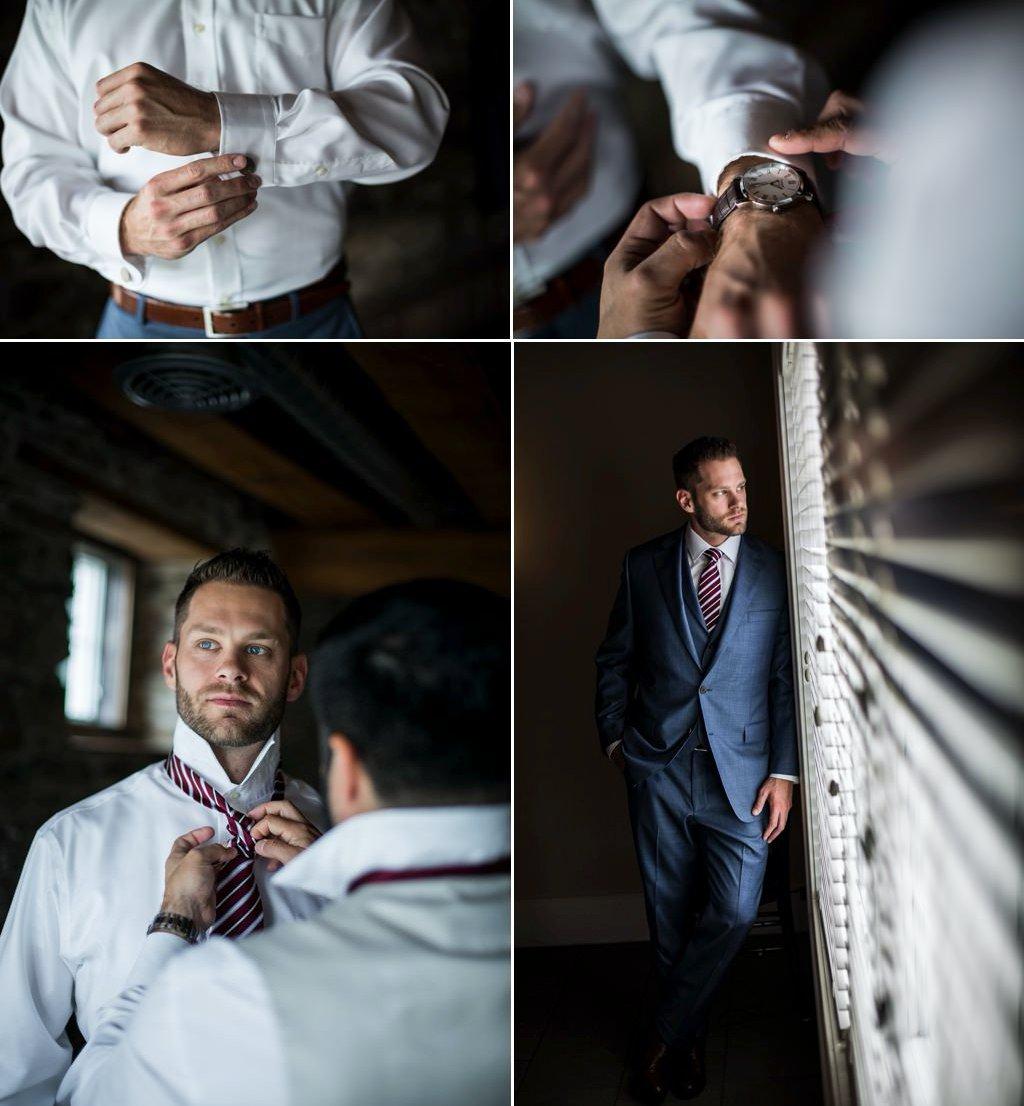 A groom getting ready before his Wyndridge Farm wedding