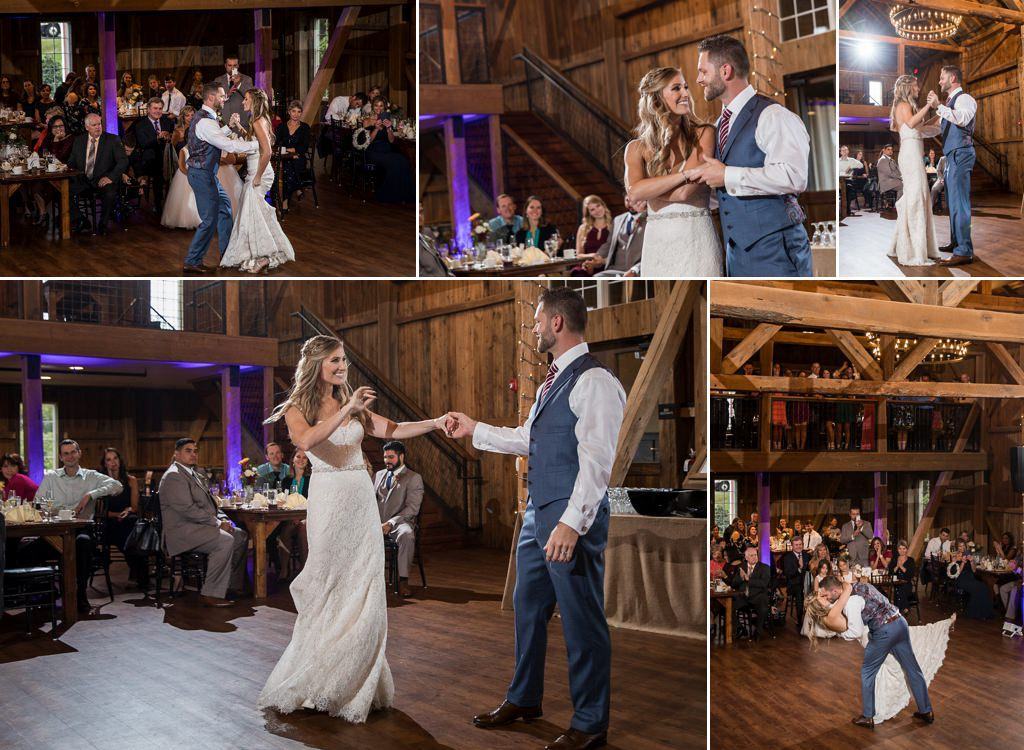 A bride and groom doing a first dance at their Wyndridge Farm wedding reception