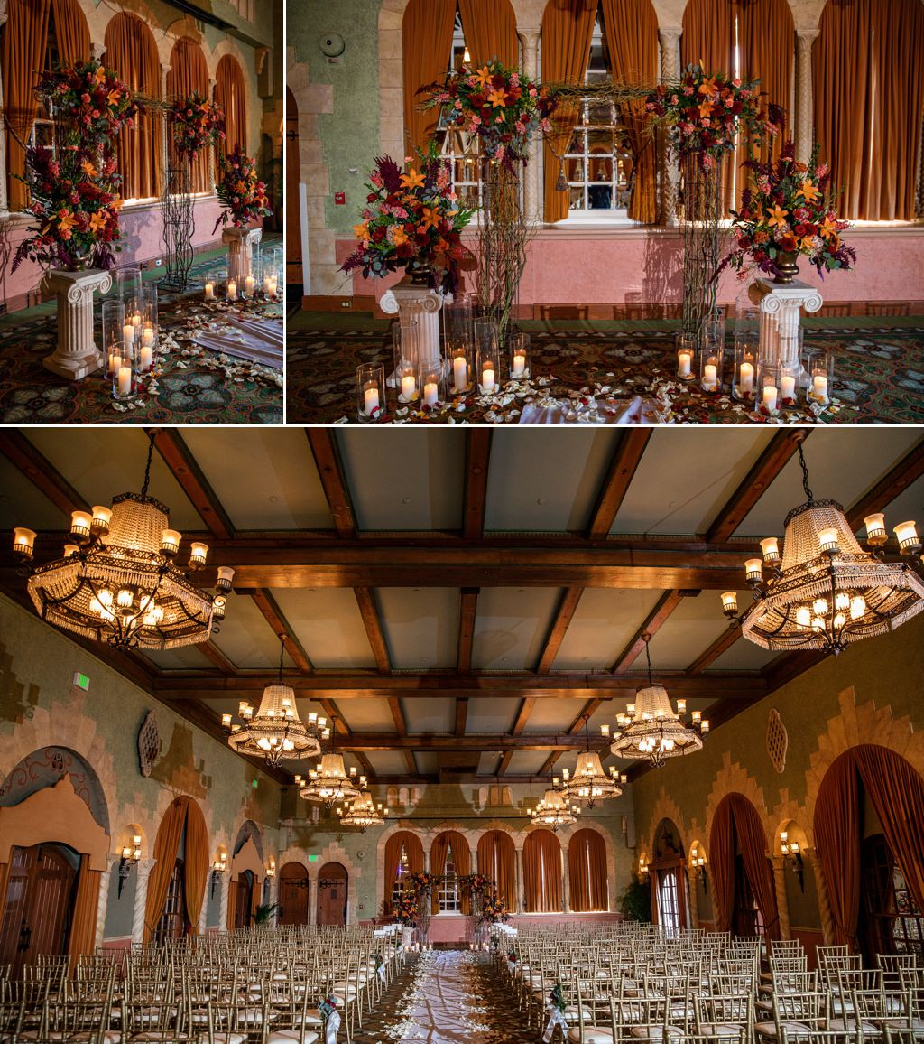 wedding ceremony decor in the castilian room at the hotel hershey