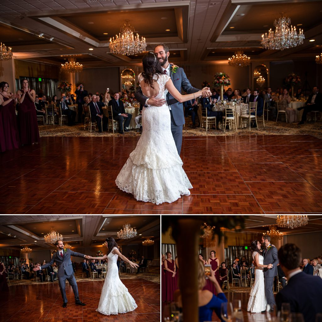 A bride and groom doing their wedding first dance at The Hotel Hershey