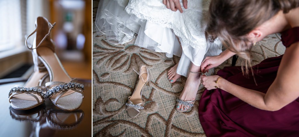 A bride putting on her shoes