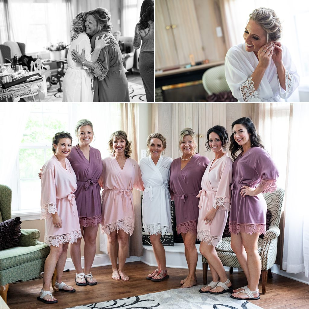 The bride and bridesmaids wearing robes while getting ready for the wedding at Wind in the Willows