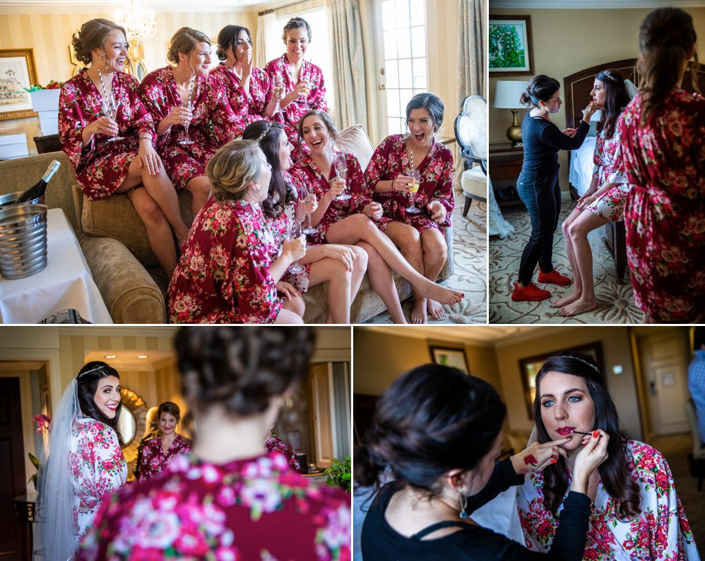 Bride and bridesmaids getting ready at a wedding at The Hotel Hershey