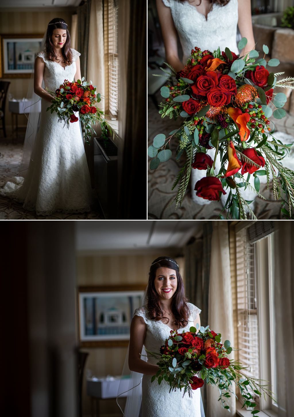 A bride posing by the window for this wedding at The Hotel Hershey