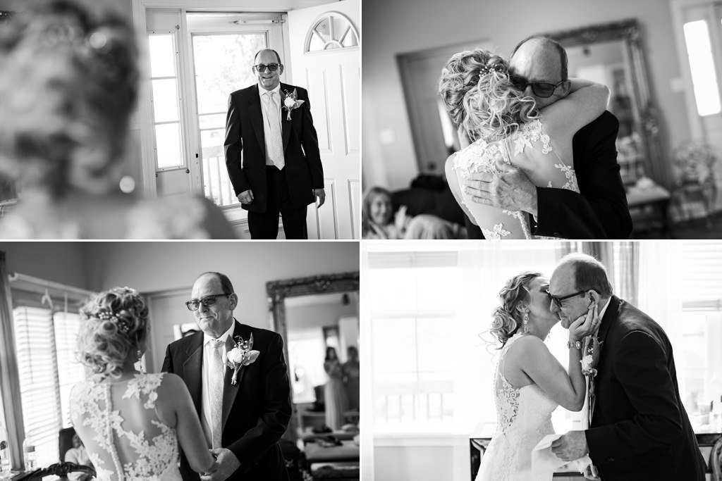 A bride doing a first look with her dad on the wedding day