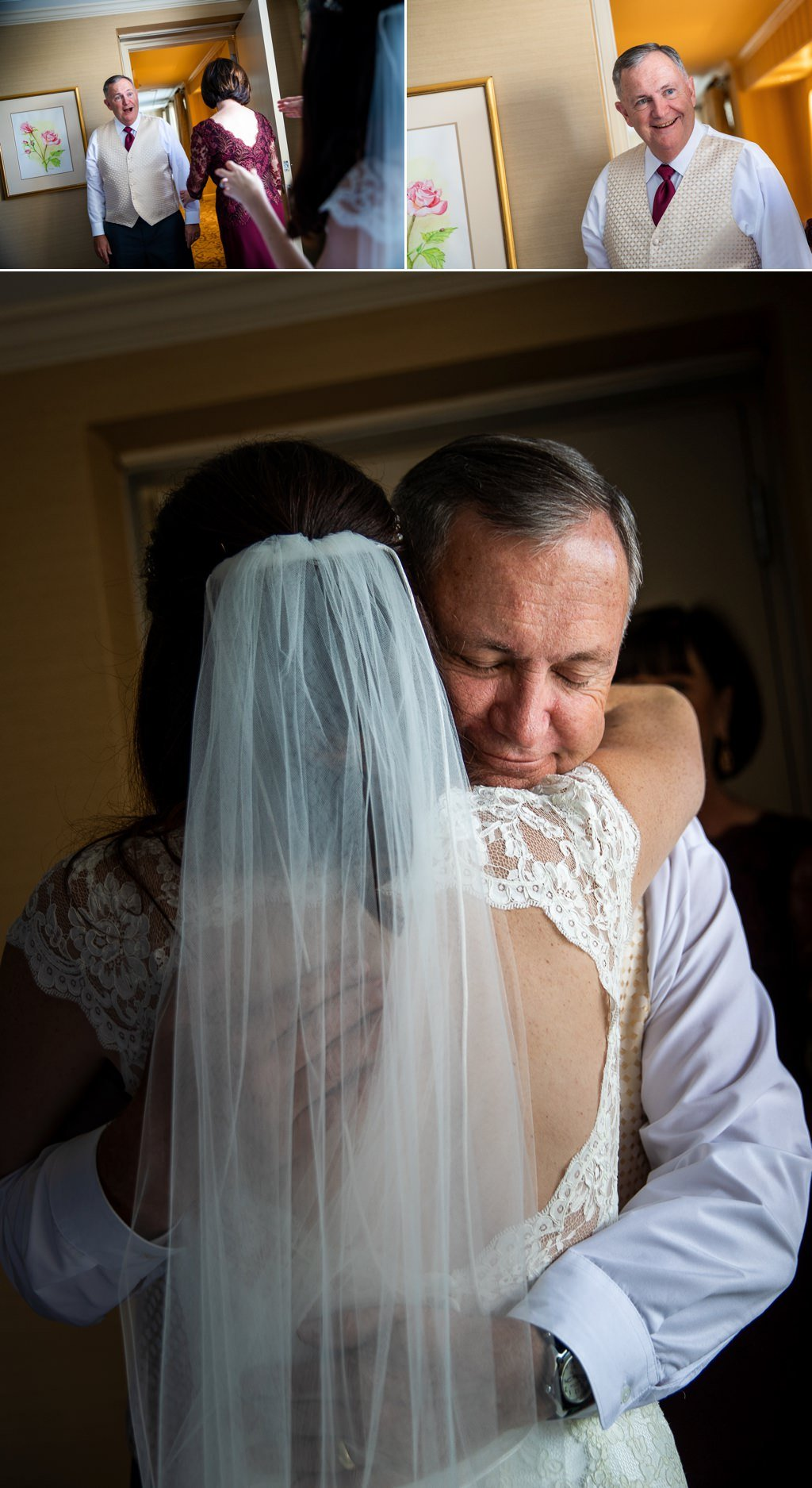 A bride doing a first look with her father at a Hotel Hershey wedding