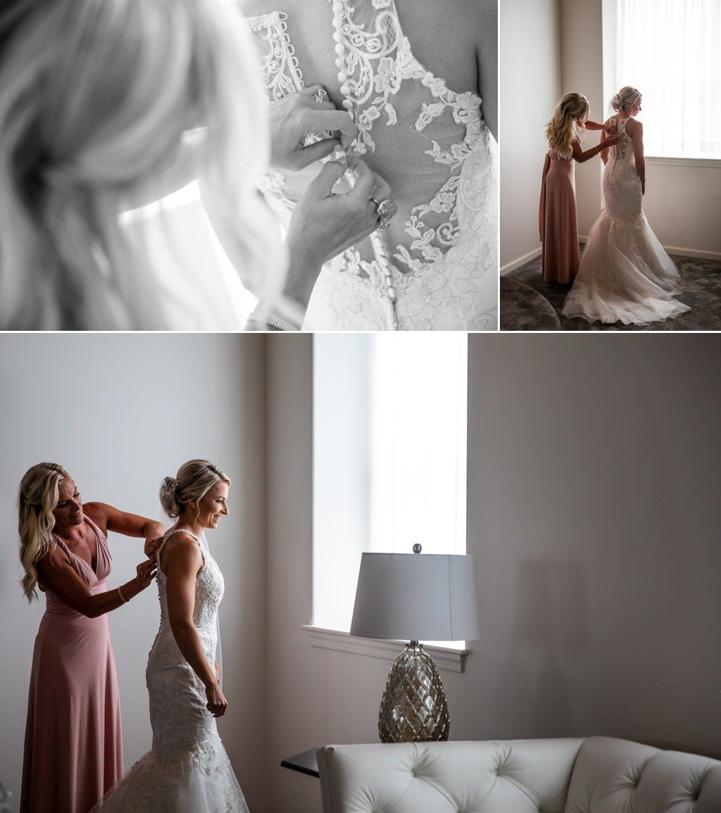 A bride getting ready in the bridal suite of the Cork Factory Hotel