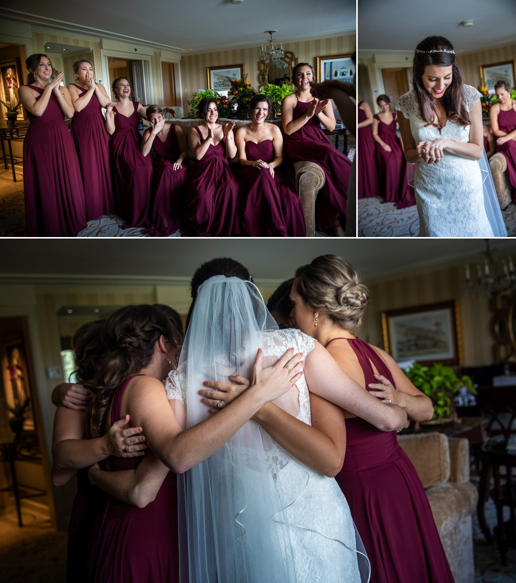 A bride and bridesmaids hugging