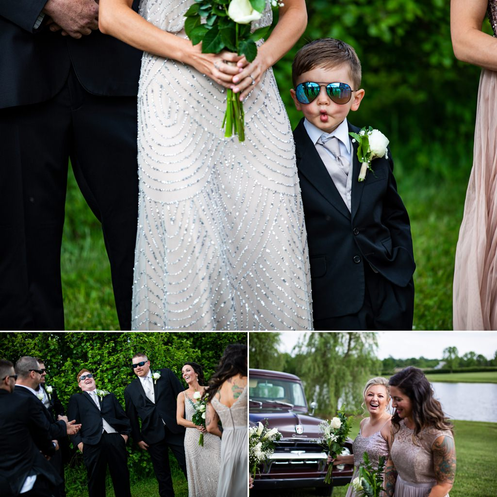 A kid making a funny face at a wedding