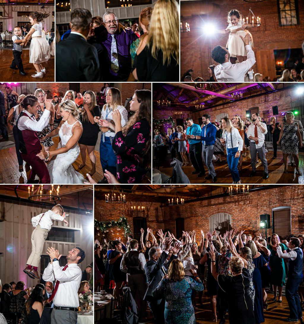 guests dancing at a wedding reception at Cork Factory Hotel