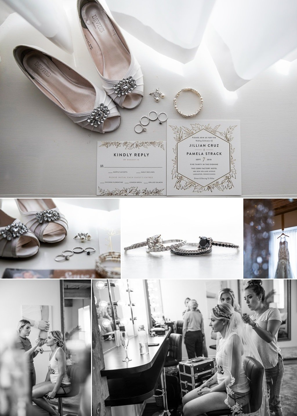 wedding details and a bride getting ready in the bridal suite of the cork factory hotel