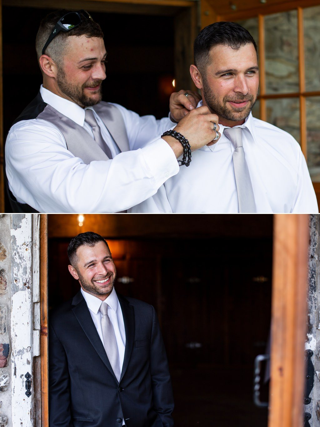 The groom getting ready for his wedding at Wind in the Willows in Grantville, PA