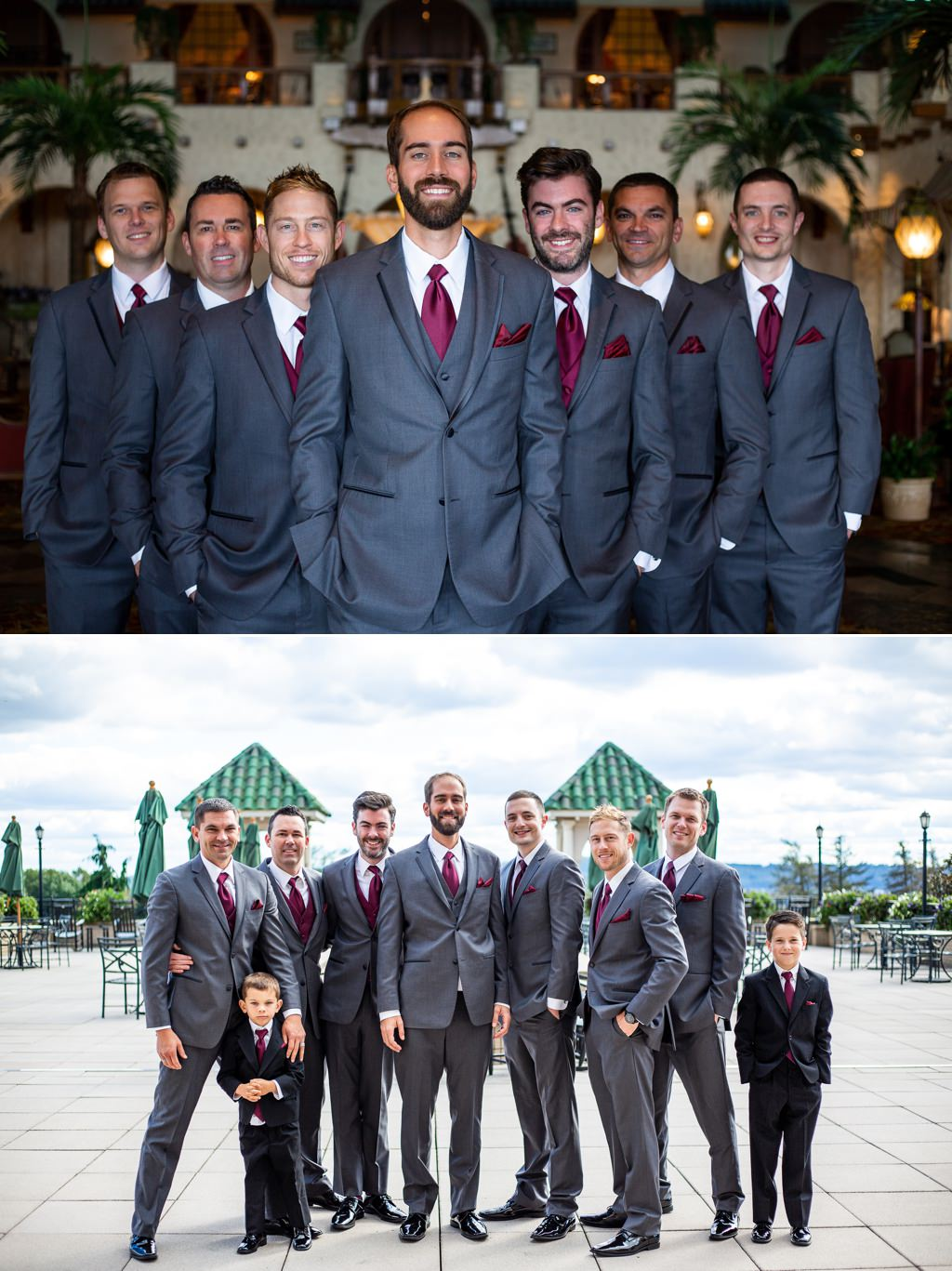 A groom and groomsmen at the wedding at The Hotel Hershey