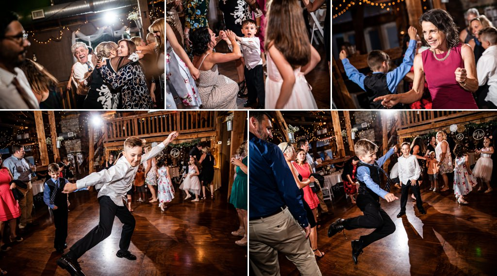 Wedding guests dancing at a Wind in the Willows reception