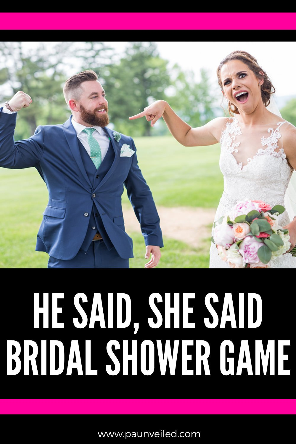 A pinterest photo for the he said she said bridal shower game post