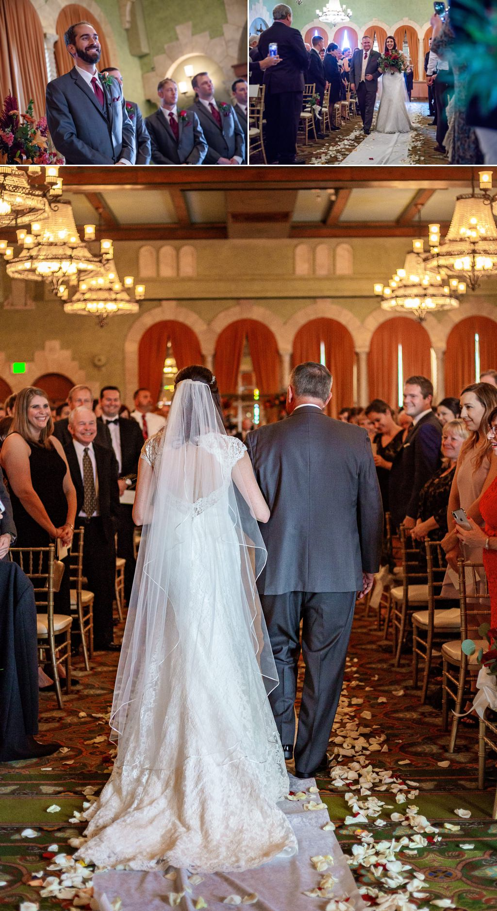 a bride walking down the aisle at her hotel hershey wedding